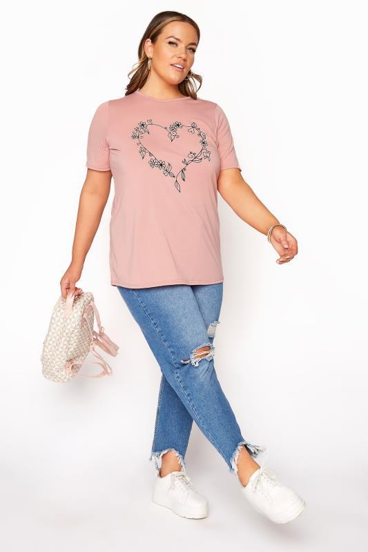 LIMITED COLLECTION Blush Pink Heart Print T-Shirt_B.jpg