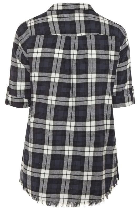 Black & White Check Frayed Hem Shirt