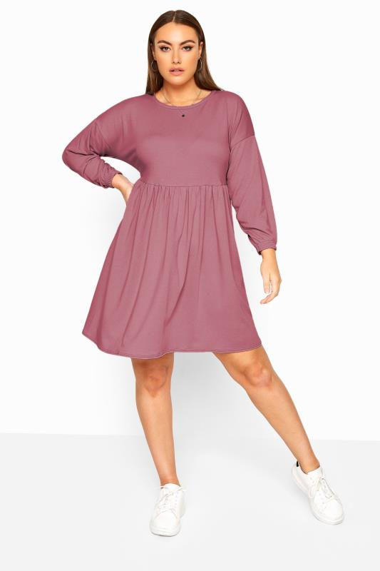 Plus Size Casual Dresses LIMITED COLLECTION Dusky Pink Peplum Sweatshirt Dress