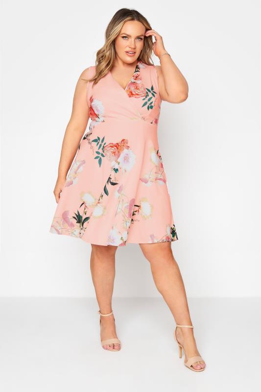 Pink Floral Wrap Skater Midi Dress_B.jpg