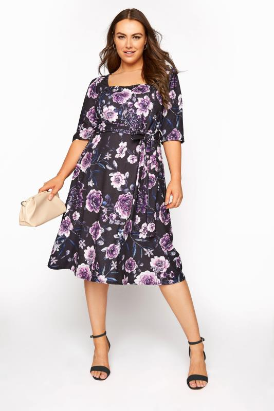 YOURS LONDON Black Floral Milkmaid Skater Dress_B.jpg