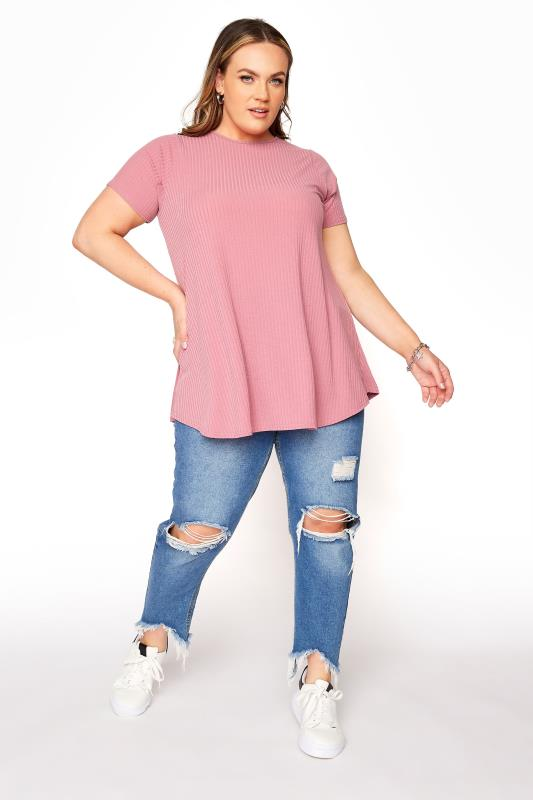 LIMITED COLLECTION Rose Pink Rib Swing Top