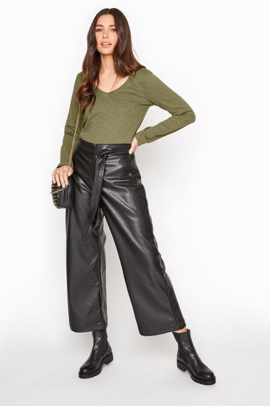 Khaki Cotton V-Neck Long Sleeve Top_B.jpg