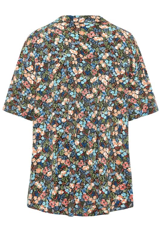 THE LIMITED EDIT Black Multi Floral Pleated Front Top_BK.jpg