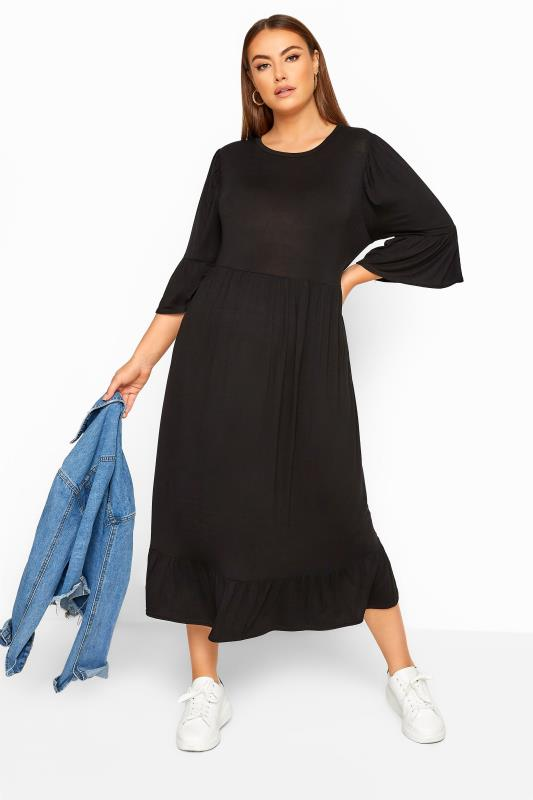 Plus Size Black Dresses LIMITED COLLECTION Black Tiered Smock Midi Dress