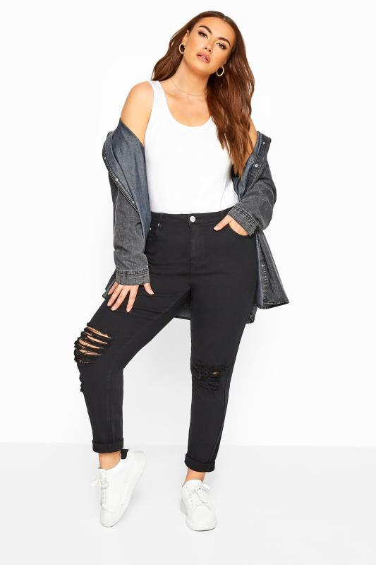 Plus Size Casual / Every Day Black Ripped Knee Skinny AVA Jeans