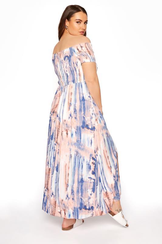 Pink Tie Dye Shirred Bardot Maxi Dress_C.jpg