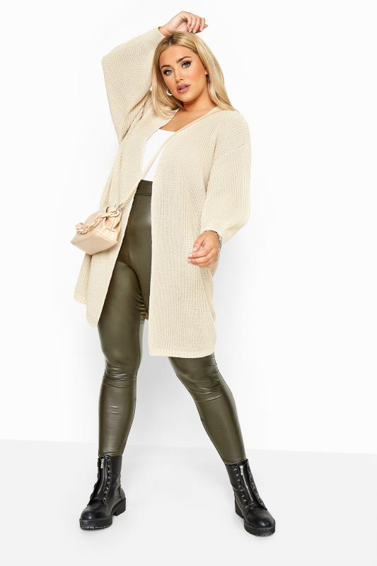 Plus Size Cardigans Stone Oversized Balloon Sleeve Knitted Cardigan