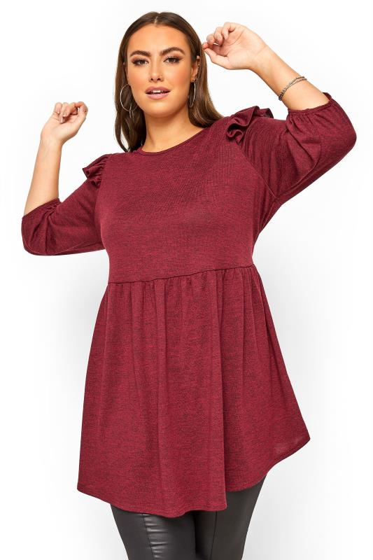 Plus Size  Burgundy Marl Frill Knitted Peplum Top