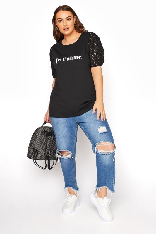 """LIMITED COLLECTION Black Broderie Anglaise Puff Sleeve """"Je T'aime"""" Slogan T-shirt"""