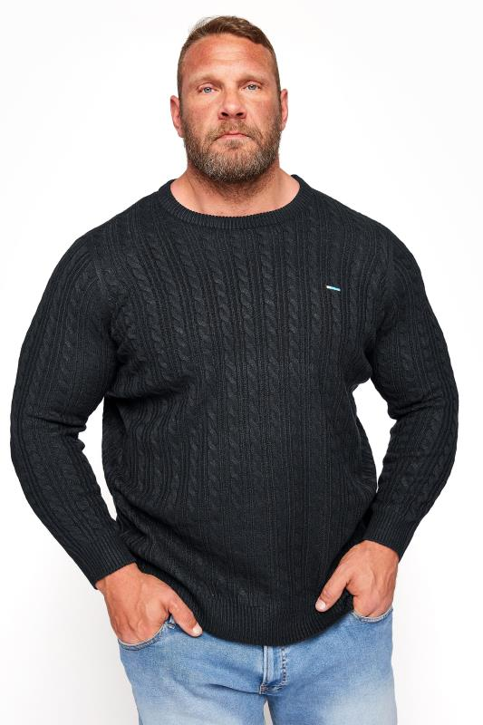 Men's  BadRhino Black Essential Cable Knitted Jumper