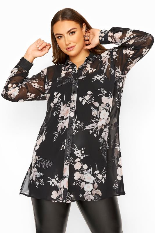 Plus Size  YOURS LONDON Black Floral Chiffon Shirt