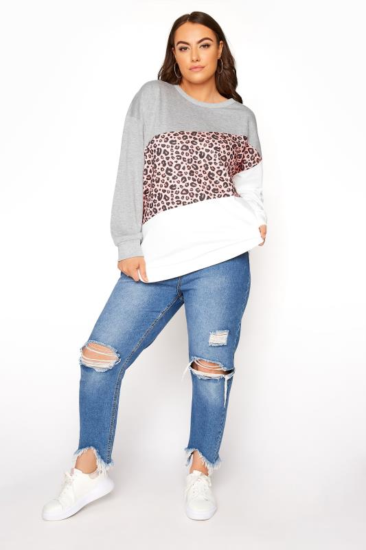Graues Animal Print Sweatshirt im Colour Block Design