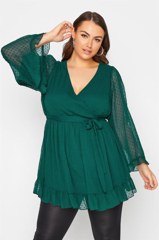Plus Size  YOURS LONDON Forest Green Dobby Wrap Blouse