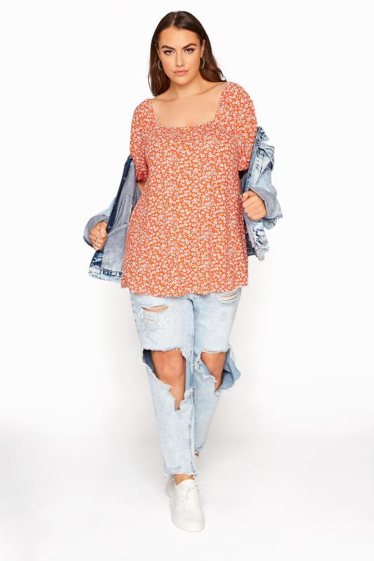 LIMITED COLLECTION Orange Daisy Square Neck Top
