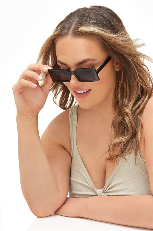 Plus Size  Black Rectangle Frame Sunglasses