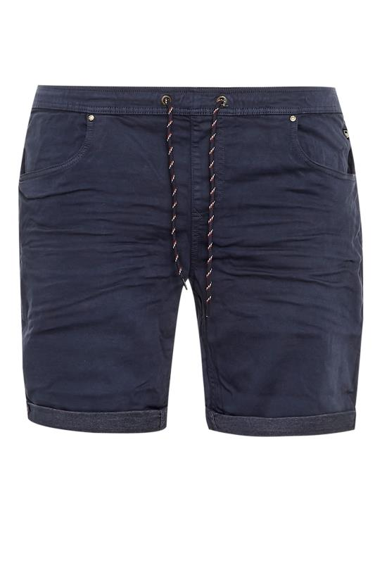 Plus Size  BLEND Navy Elasticated Denim Shorts