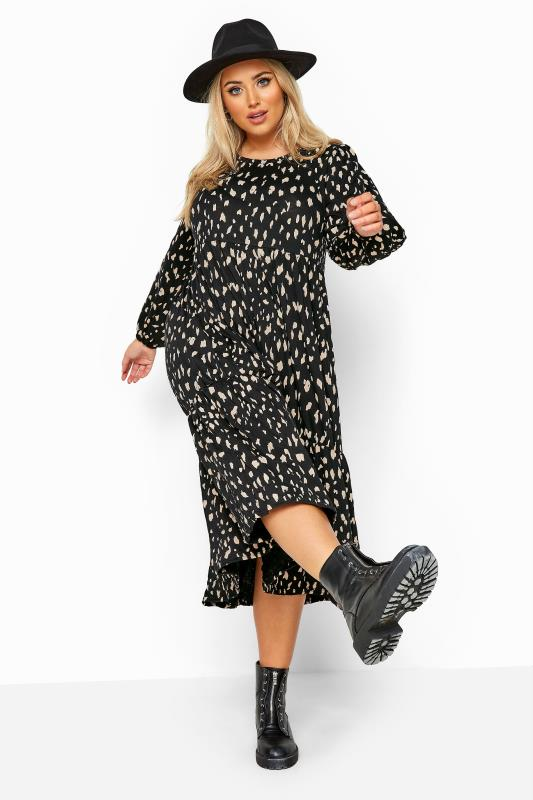 Plus Size Black Dresses Black Animal Marking Balloon Sleeve Tiered Midaxi Dress