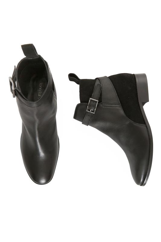 Black Contrast Buckle Leather Ankle Boots