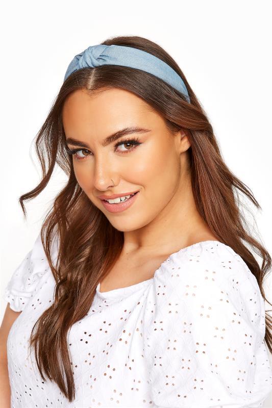 Plus Size  Light Denim Blue Knot Headband