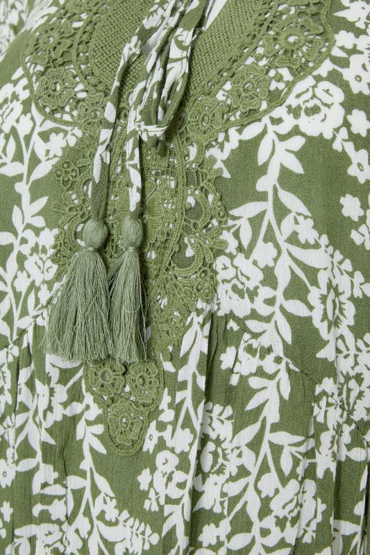 LTS Khaki Floral Crochet Tie Front Tunic_S.jpg
