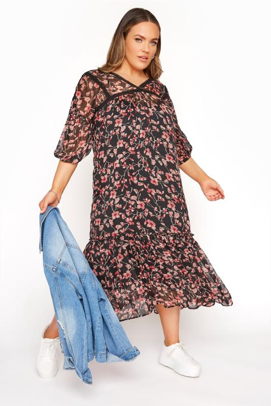 LIMITED COLLECTION - 2-in-1 lange jurk met bloemenprint in zwart