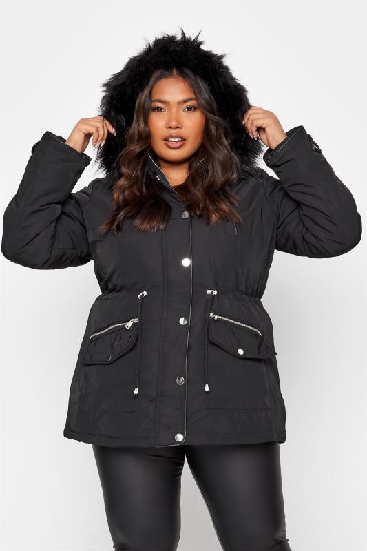 Plus Size  Black Fur Trim Hooded Parka