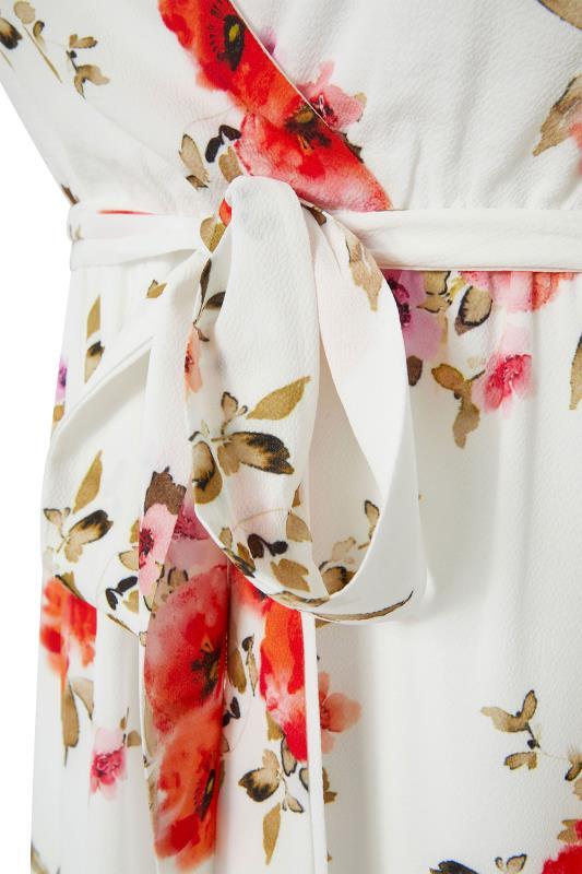 YOURS LONDON Orange Floral Short Sleeve Wrap Dress_S.jpg