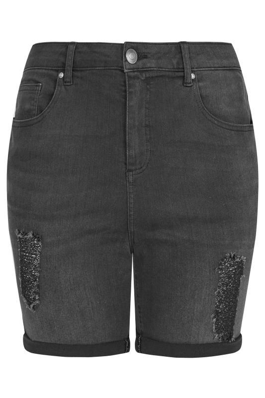LIMITED COLLECTION Black Distressed Denim Shorts_F.jpg