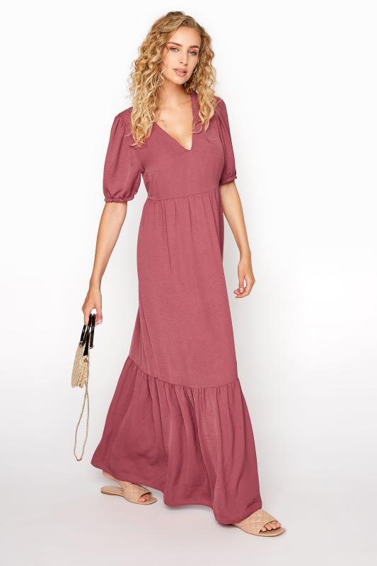 LTS Dusky Pink Twill Tiered Midaxi Dress