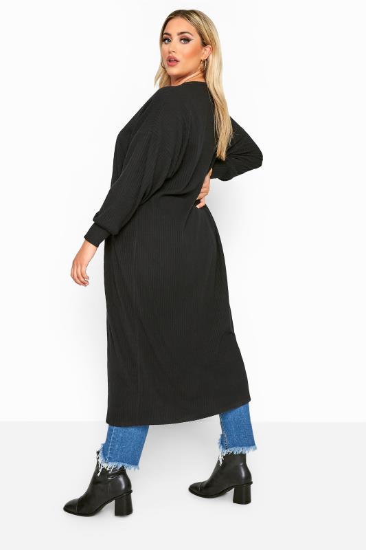 LIMITED COLLECTION Black Balloon Sleeve Brushed Midi Cardigan