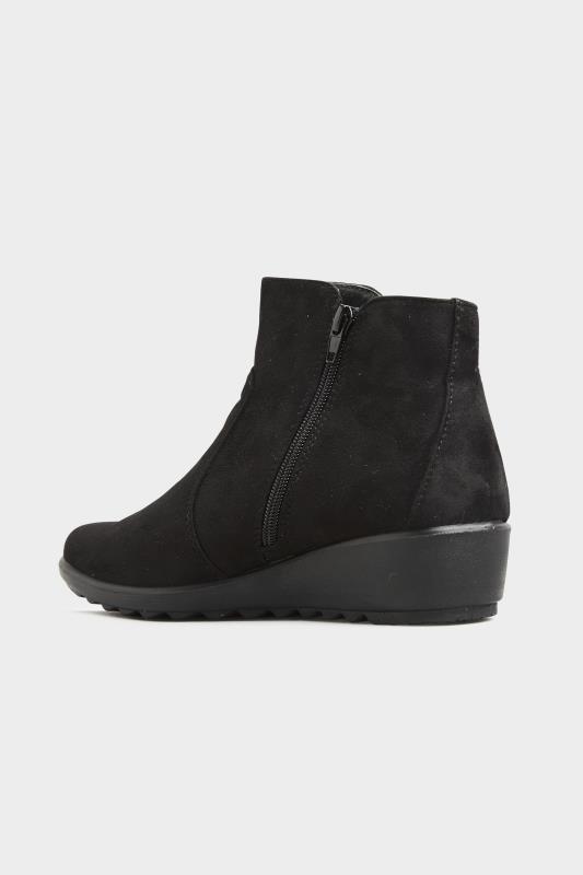 Black Vegan Suede Wedge Heel Ankle Boots In Extra Wide Fit_C.jpg