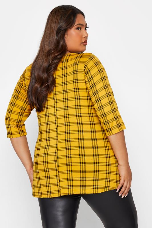 LIMITED COLLECTION Mustard Yellow Check Print Swing Top_C.jpg