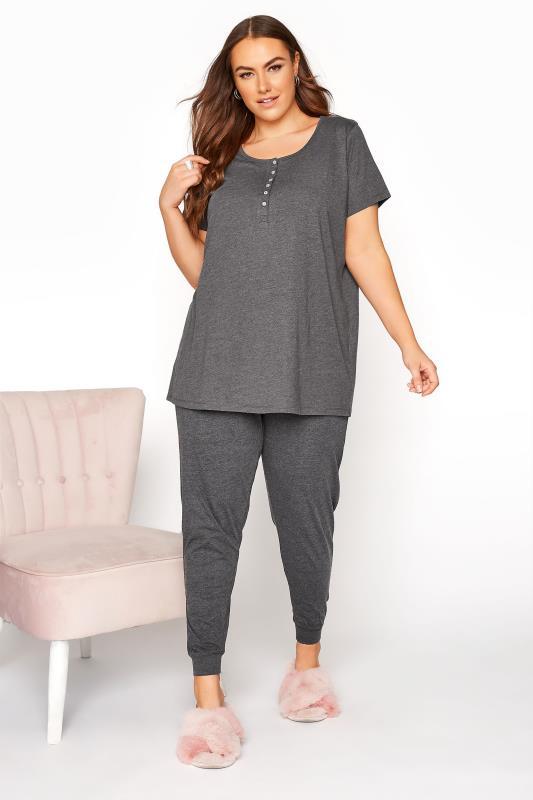 Charcoal Button Scoop Neck Pyjama Top_B.jpg