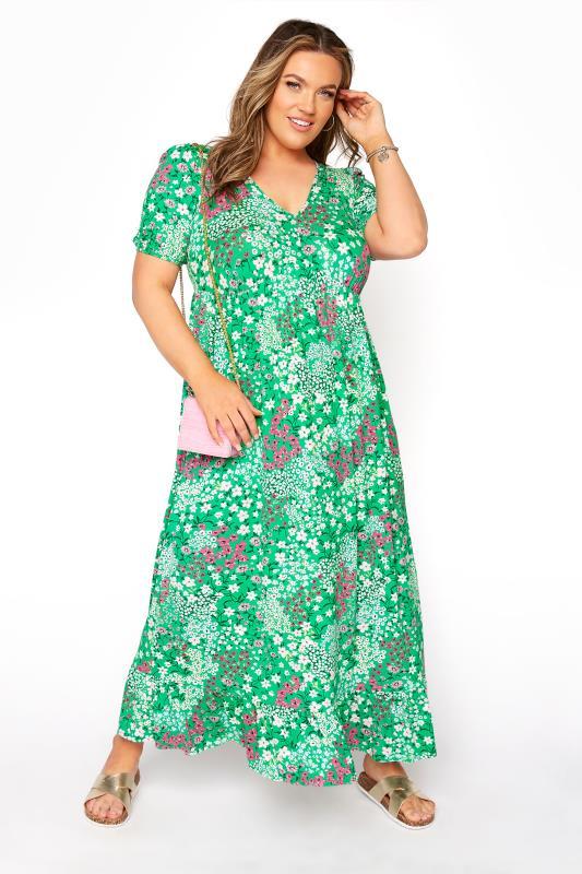 YOURS LONDON Green Floral Jersey Tea Dress_B.jpg