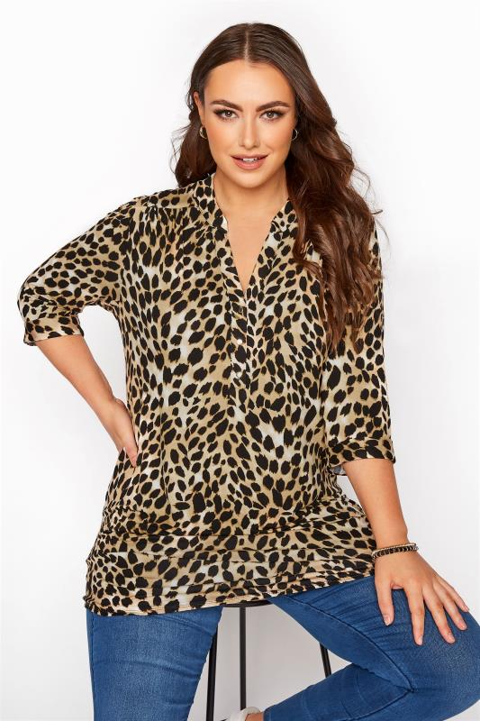 Plus Size  Brown Animal Print Grandad Collar Jersey Overhead Shirt