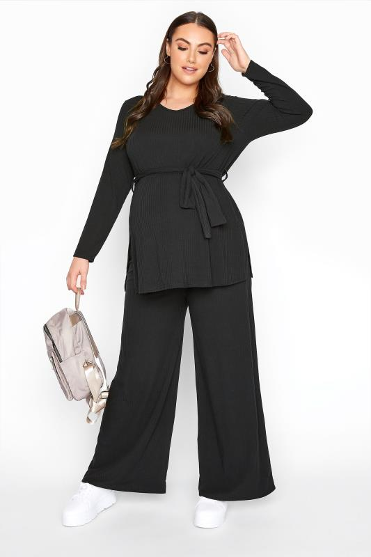 dla puszystych BUMP IT UP MATERNITY Black Ribbed Lounge Set