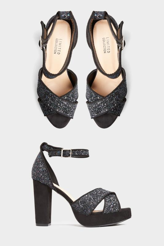 LIMITED COLLECTION Black Glitter Platform Heels In Extra Wide Fit