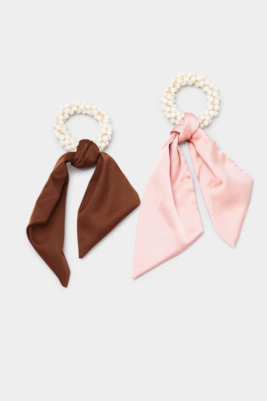 2 PACK Pink Pearl Trim Long Scrunchies_A.jpg
