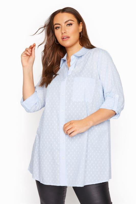 Pale Blue Dobby Boyfriend Shirt