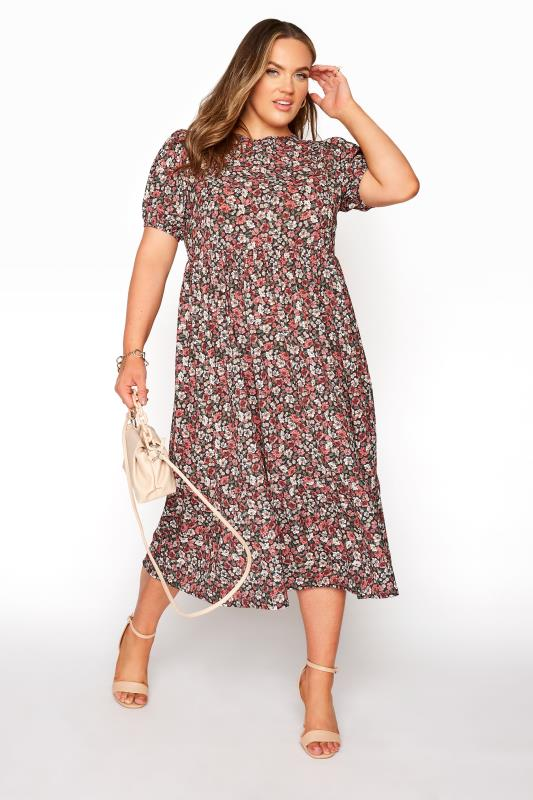 YOURS LONDON Red Ditsy Floral Smock Midi Dress_B.jpg