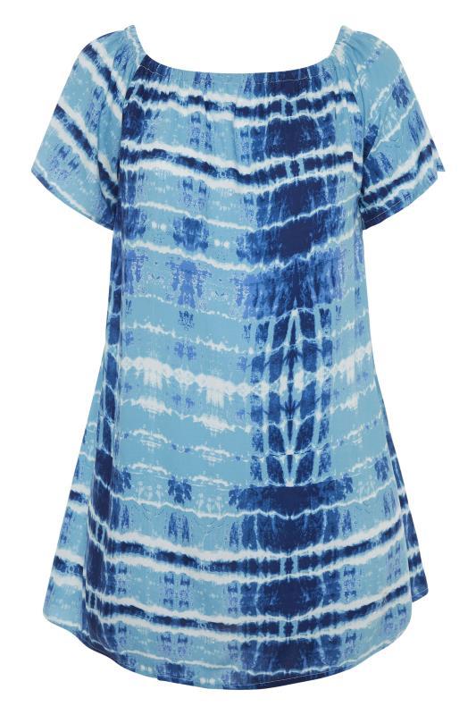 Blue Tie Dye Gathered Gypsy Tunic_F.jpg