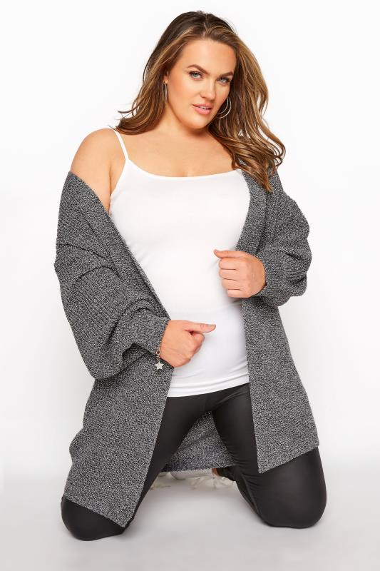 Plus Size  Grey Balloon Sleeve Cardigan