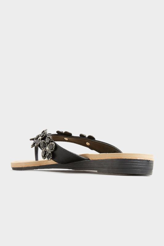 Black Flower Gem Sandals in Regular Fit_D.jpg