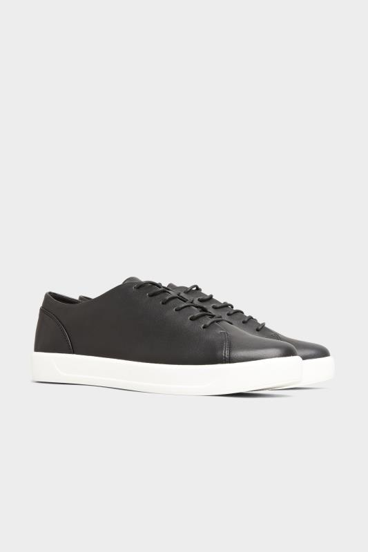 Black Vegan Leather Basic Trainers In Extra Wide Fit