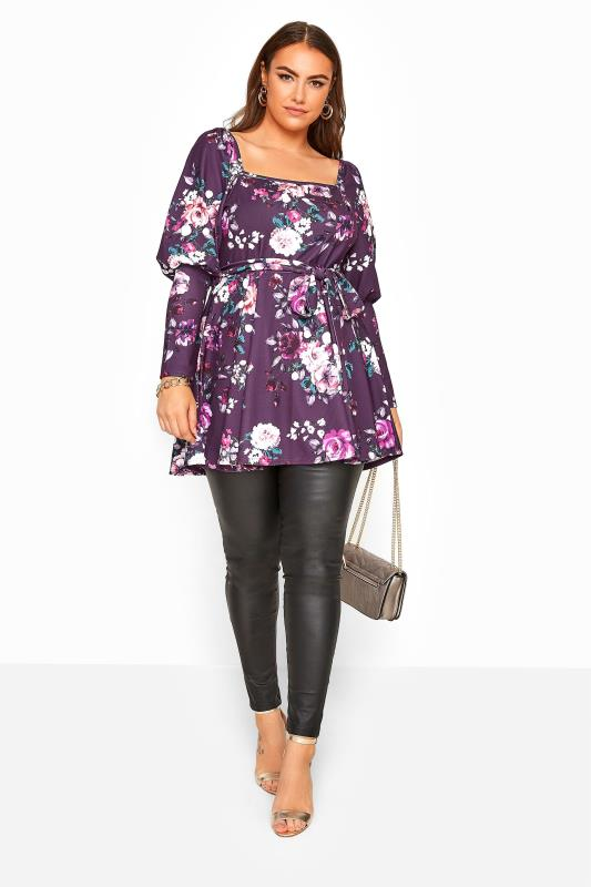 YOURS LONDON Purple Floral Milkmaid Belted Peplum Top