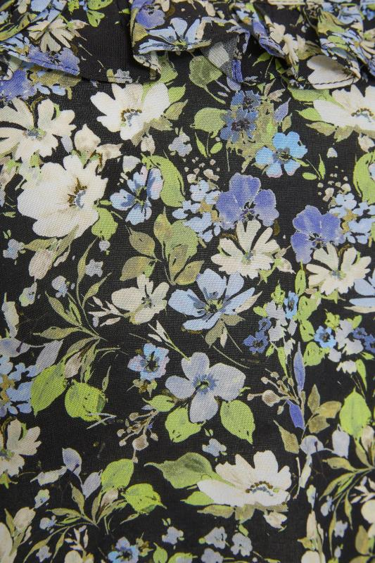 Black Floral Print Frill Neck Top_S.jpg