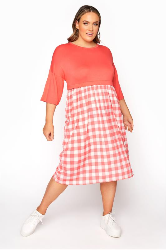Plus Size  LIMITED COLLECTION Coral Gingham Bubble Crepe Midi Dress