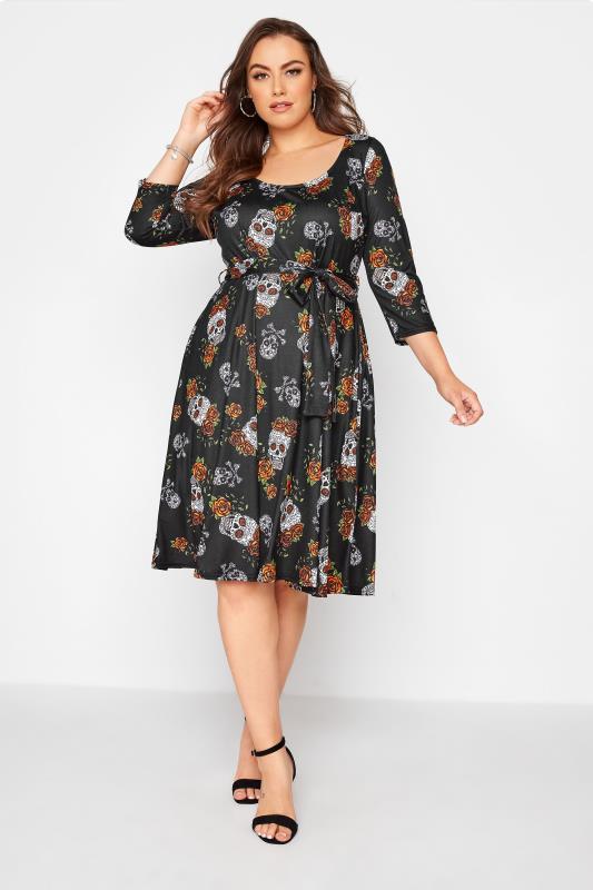 Plus Size  YOURS LONDON Black Skull Print Dress