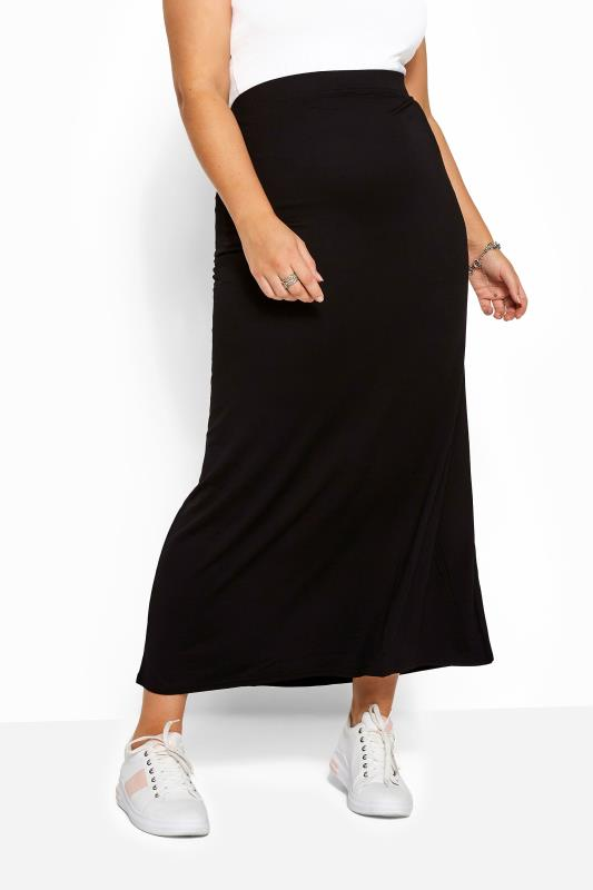 Strumento album Economico  Black Jersey Maxi Tube Skirt With Elasticated Waistband plus size 16 to 36  | Yours Clothing